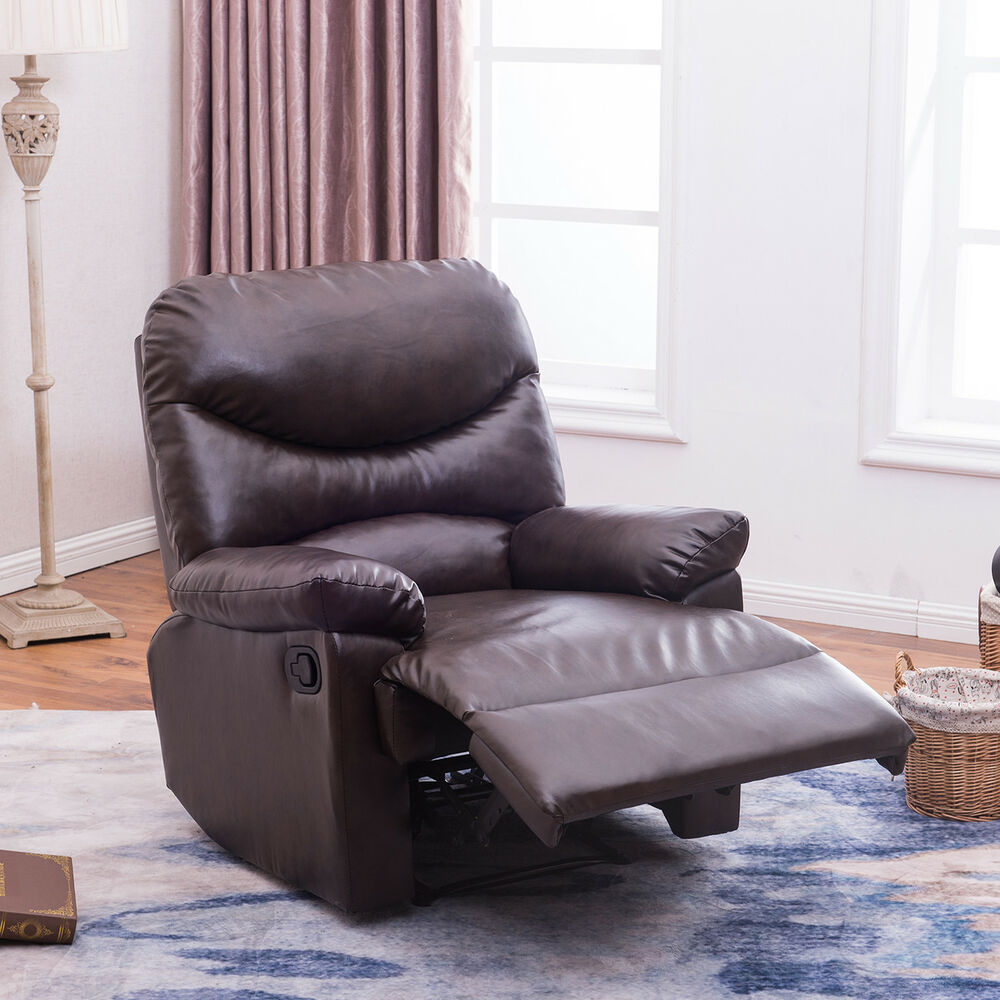 New Contemporary Faux Leather Recliner Club Chair Room