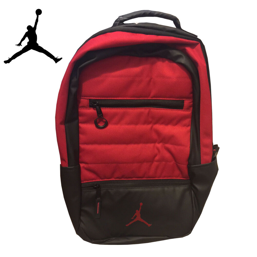 4e43cb42aa Details about Air Jordan Backpack Laptop Sleeve Red   Black – Water  Resistant (9A1944-R78)