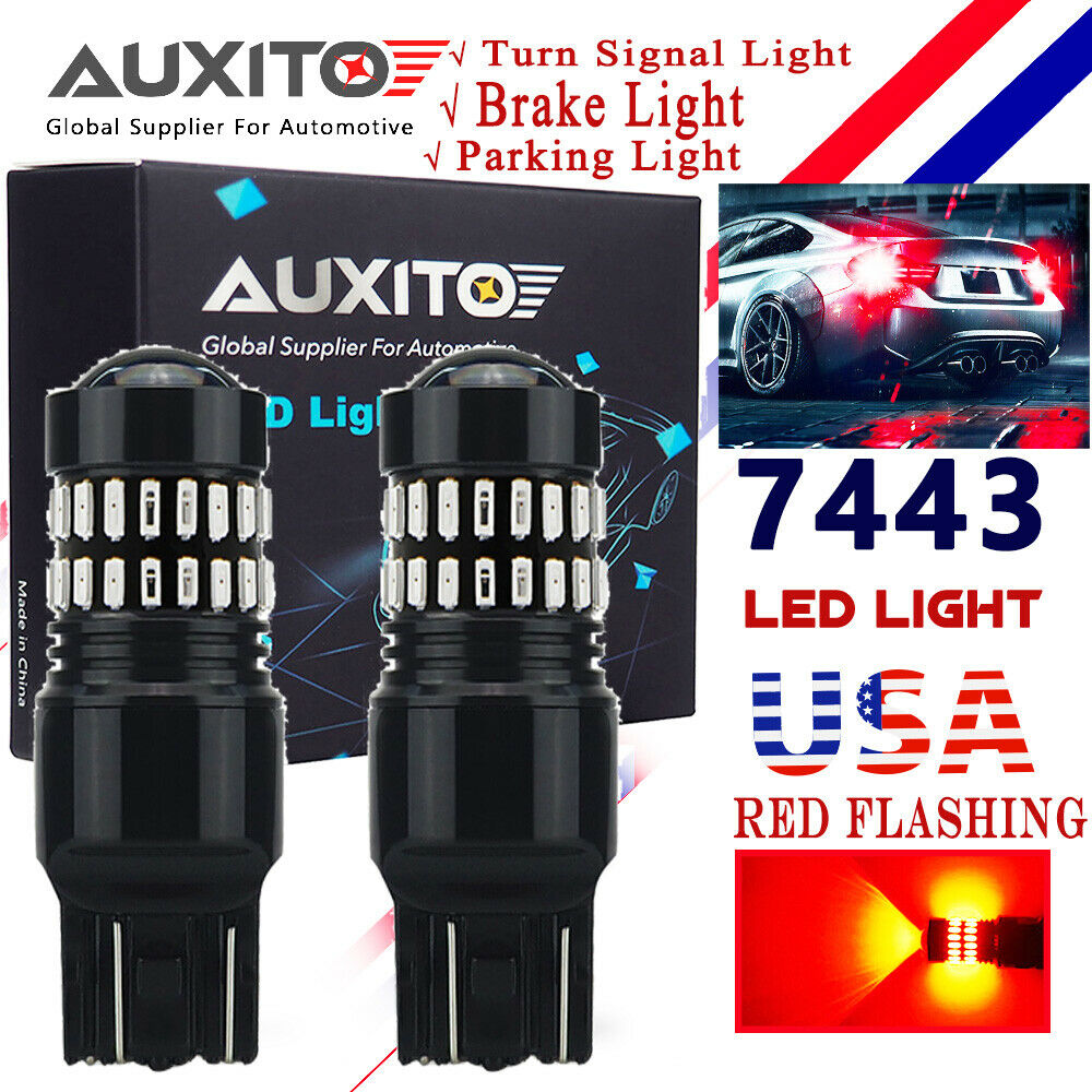 Canadian Tire Fluorescent Shop Light: 2X AUXITO 7440 7443 Red Flash Alert Brake Tail Stop Light