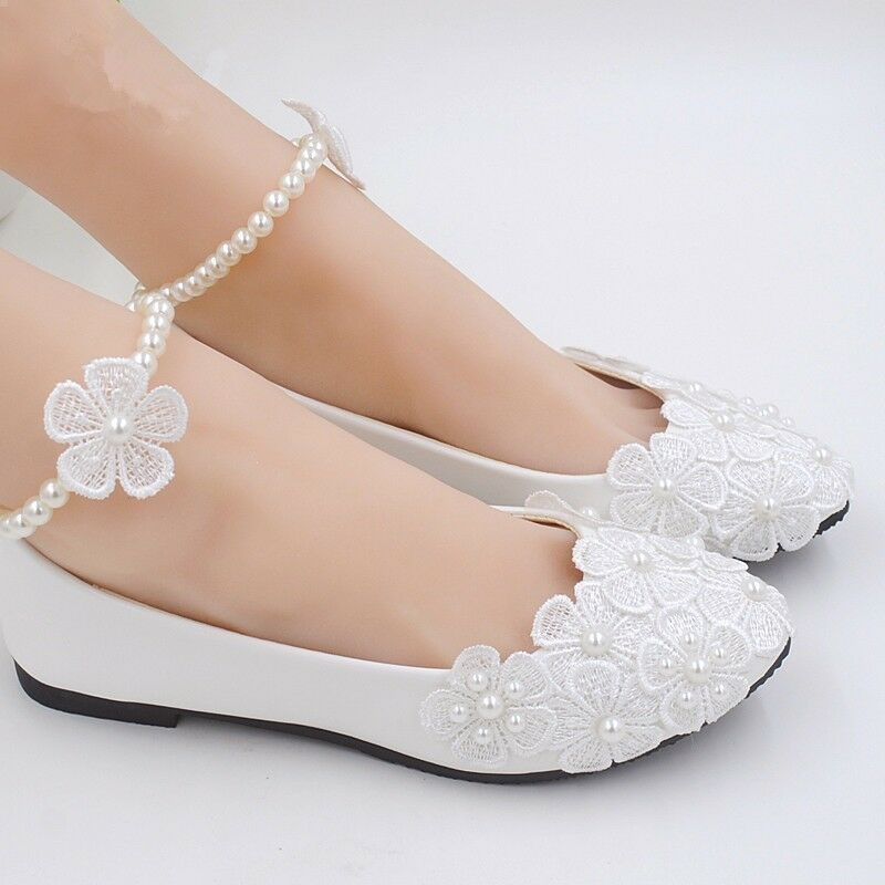 cc581ad0f581 Details about Pearl Flower Flats Wedding Shoes Lace Prom Bridal Bridesmaid  Flat Low Heel Shoes
