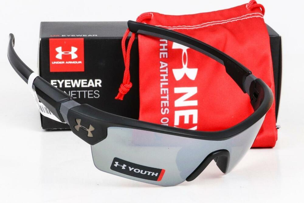 87ef25e958 Details about NEW UNDER ARMOUR MENACE SUNGLASSES Satin Black   Game Day  lens UA Youth Kids Fit