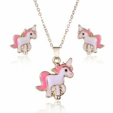Cute Pink Horse Unicorn Jewelry Sets Fashion Women Girl Earrings Necklaces Gift