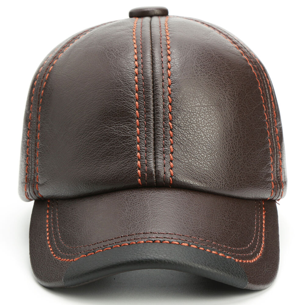 eeee4d90314 Details about Adjustable Guarantee Genuine Cow Leather Baseball Cap Leather  Hats for Men