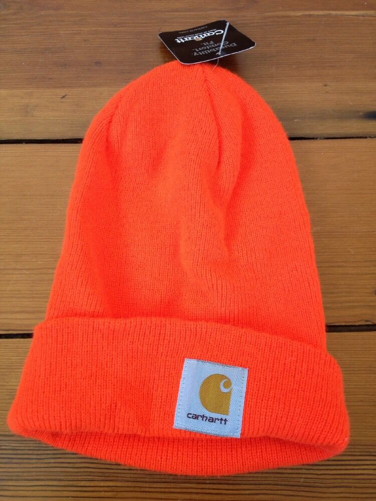 9ce80b81d9c Details about New NWT Carhartt Knit Safety Neon Bright Orange Hunters Ski  Hat One Size