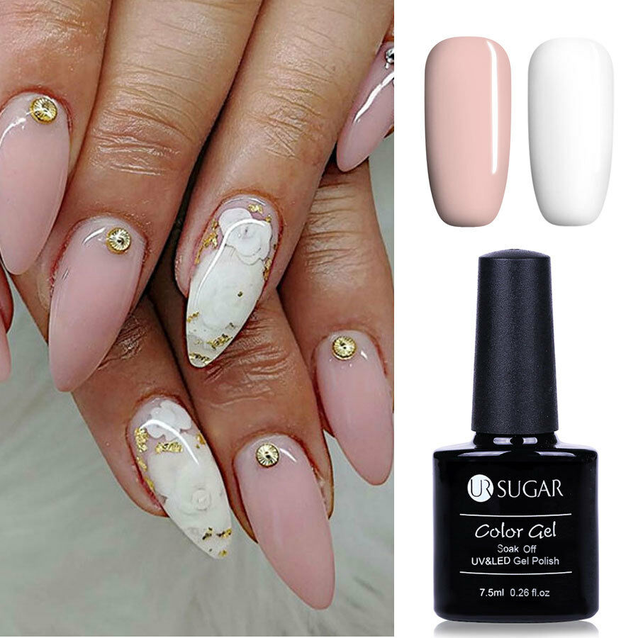 2pcs UR SUGAR White Pink Color Gel Polish LED UV Lamp Gel Nails ...