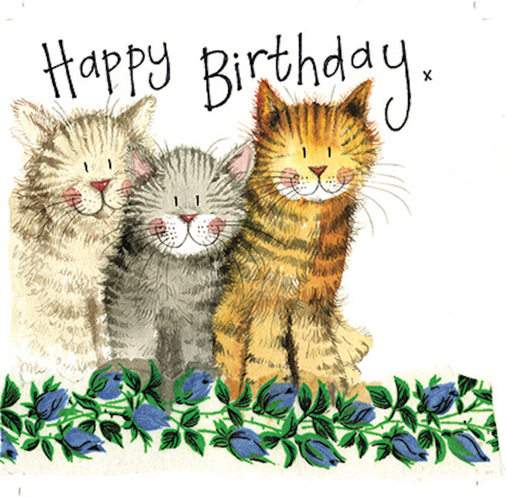 THE THREE AMIGOS BIRTHDAY CARD CATS ENVELOPE SPARKLE GLITTER ALEX CLARK