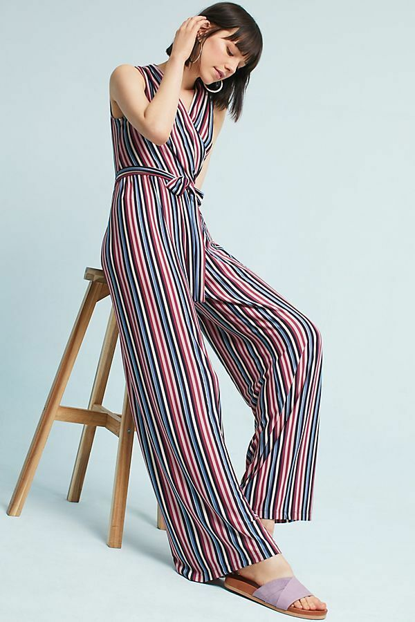5e949cb8486 Details about Anthropologie Donna Morgan Penny Wrap Wide-Leg Striped V-Neck  Jumpsuit NWT 4 8