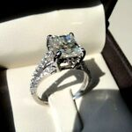 3Ct Princess Cut Moissanite Diamond Solitaire Engagement Ring Set 14K White Gold