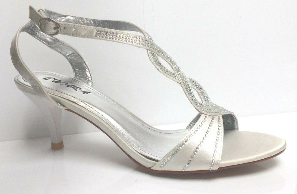 f7e0124785a3 Details about New Ivory Diamante Peep Toe Wedding Sandals Bridal Prom Party Shoes  UK 3 5