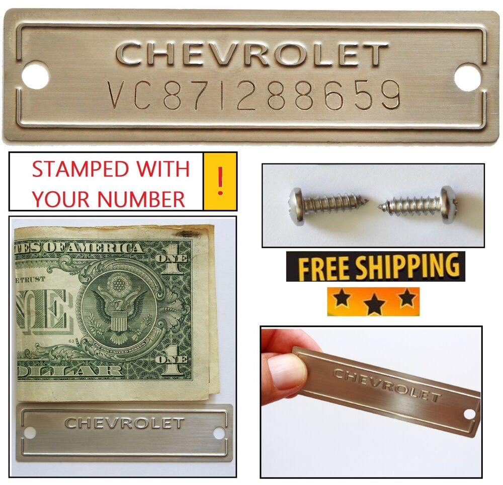 Serial Number: Chevrolet Data Plate Stamped ID Tag VIN Chevy 1953-1963