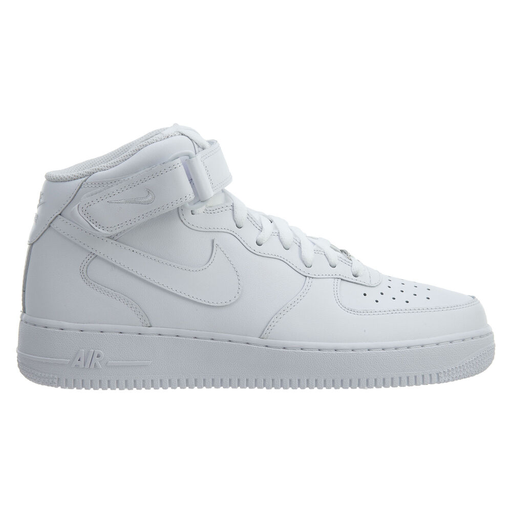 4b0acac00f6 Details about Nike Air Force 1 Mid  07 Mens 315123-111 White Leather  Athletic Shoes Size 9