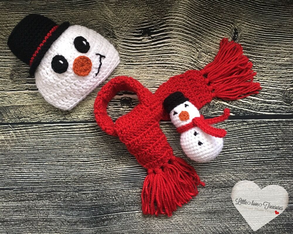 Details about Newborn Baby Christmas Snowman Hat and Scarf Set Photo Prop  Outfits Baby Clothes 33d5b494f24