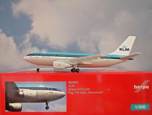 Herpa Wings 1:500 Airbus A310-200 KLM PH-AGA Rembrandt 531573 Modellairport500