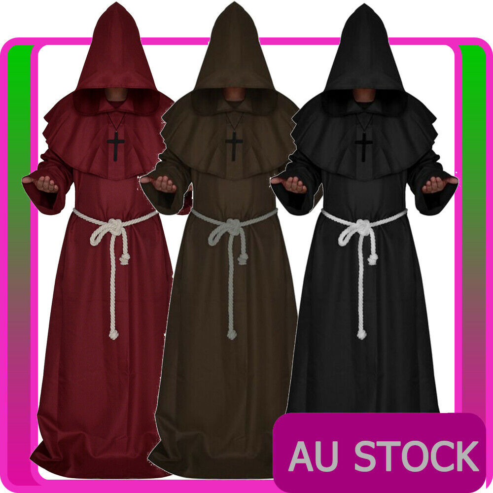 55678a937f Details about mens monk costume brown black medieval friar hooded robe  renaissance halloween jpg 1000x1000 Medieval