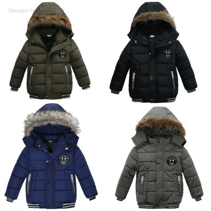 2efd9e03f39e Toddler Baby Kids Boy Winter Outerwear Fur Warm Hooded Coat Down ...