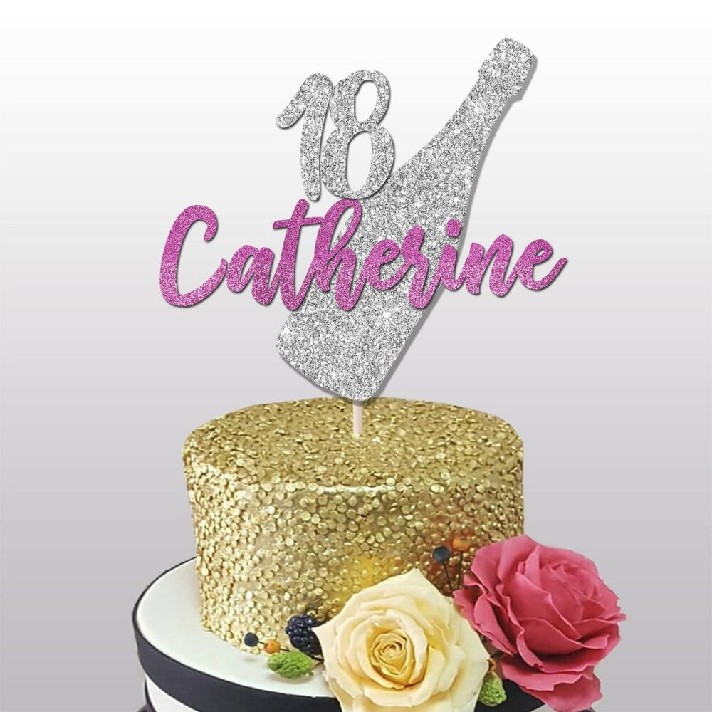 Details About 18th CUSTOM NAME GLITTER CAKE TOPPER 18TH BIRTHDAY PARTY DECORATIONS 21ST