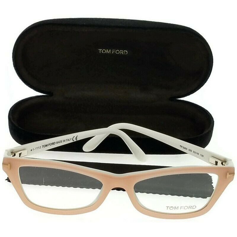 84707c7316774 Details about Tom Ford FT5265-055 Cat Eyes Women s Light Pink Frame Clear  Lens Eyeglasses NWT