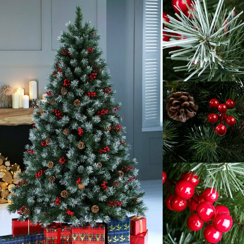 Christmas Berry Tree Hawaii: 4ft, 5ft, 6ft, 7ft Luxury Unlit Frosted Pine Cone And Red