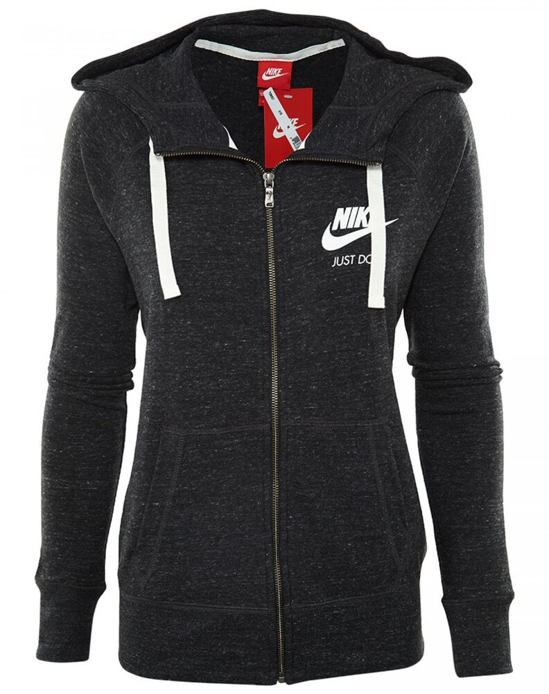 4c2f10e9 Details about Nike Gym Vintage Full Zip Hoodie Womens 726057-010 Black Sail  Hoody Wmns Size M