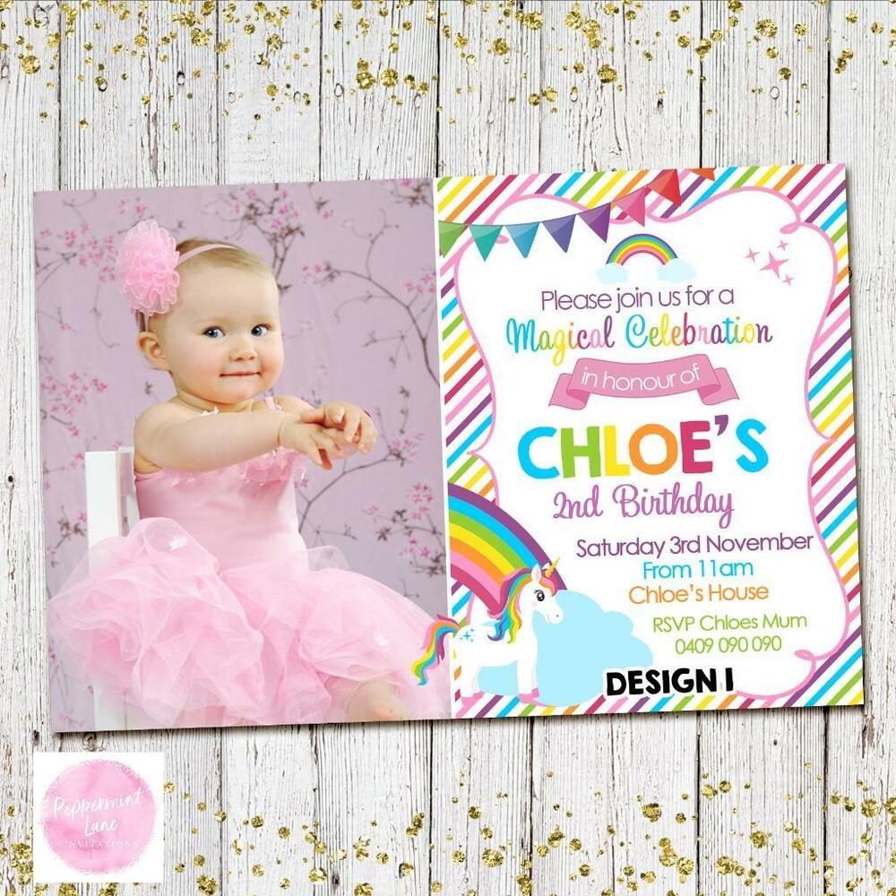 Details About YOU PRINT UNICORN RAINBOW 1st Invites Invitations Party First Birthday Girls