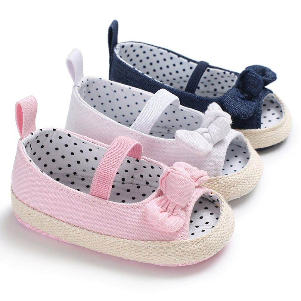 8f111925a1f Details about Newborn Infant Baby Girl Summer Kids Shoes Soft Sole Crib  Prewalker Anti-Slip