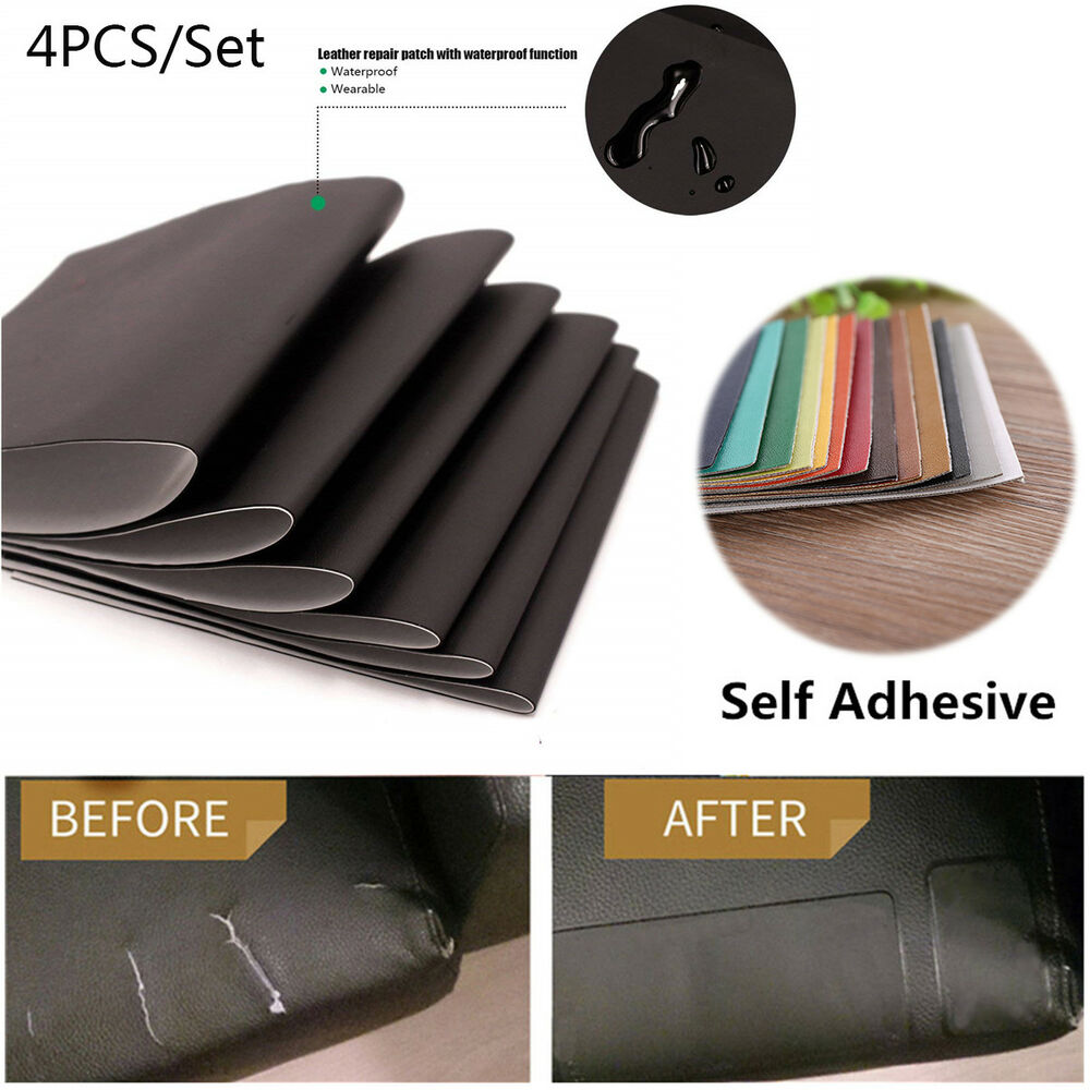 Leather Patch For Sofa: 4 PCS Leather Repair Patch Kit Car Seat Upholstery Filler