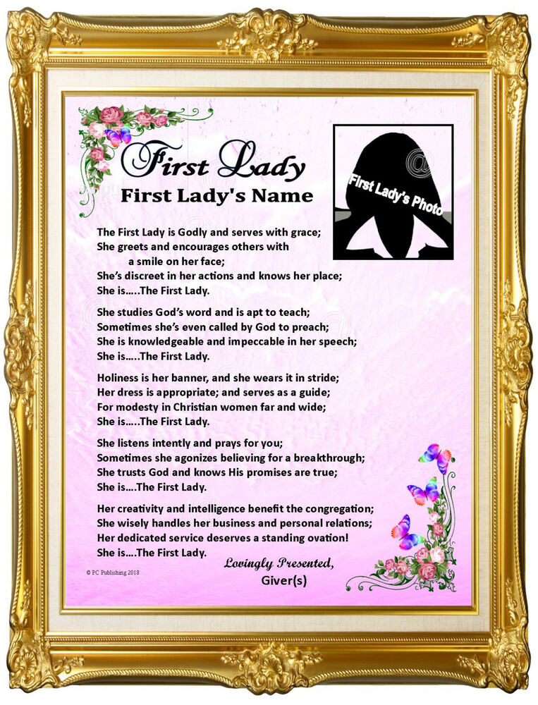 Pastor's Wife First Lady Personalized Photo Name Poem Gift ...