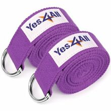 Yes4All Exercise Yoga Strap 8 feet with D-Ring Buckle for Stretching, Flexibi W