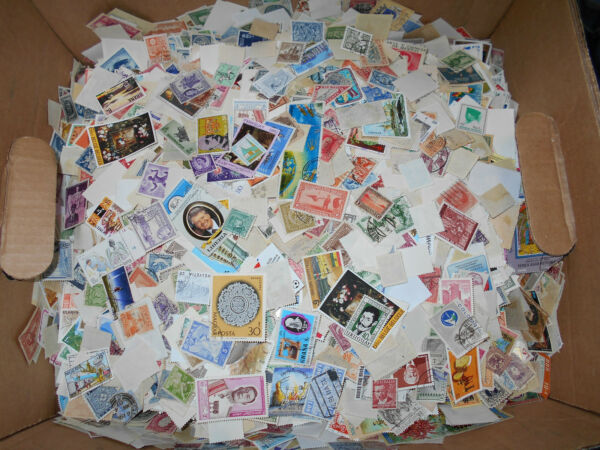 Worldwide foreign stamp mix - One pound off-paper - bulk lot - NEW LOW PRICE!
