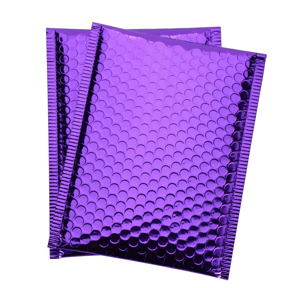 any size  pack purple metallic bubble mailer self seal