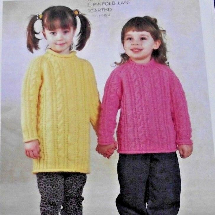 Knitting Pattern Girls Aran Jumper Sweater And Tunic Ages 2 13