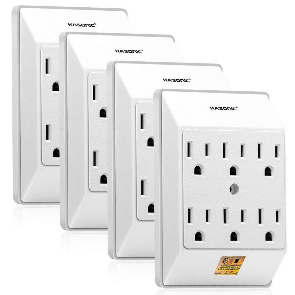 Wallmounted power strip with multiple receptacles