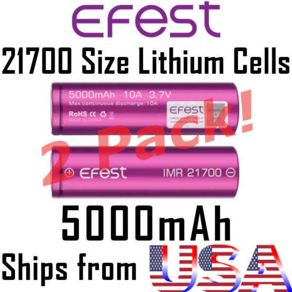 2x EFEST 21700 5000mAh 10A Rechargeable Lithium Ion Battery Cell Vape Mod IMR
