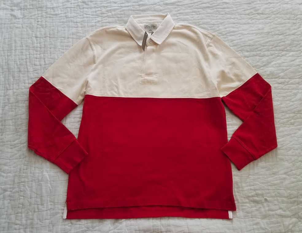 00d982a9891 Details about NEW MEN'S M L XL J CREW 1984 CLASSIC RUGBY SHIRT IN  COLORBLOCK ROCK RED