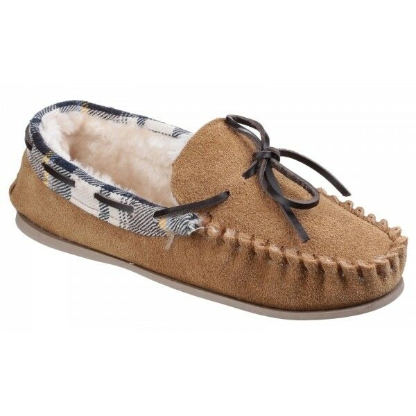 7aa7f65899e Details about Cotswold KILKENNY Ladies Suede Leather Comfort Faux Fur Moccasin  Slippers Tan