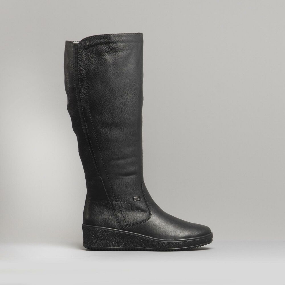 65709cd9f91 Details about Rieker Y4460-00 Ladies Womens Leather Pull On Wedge Heel Tall Riding  Boots Black