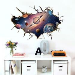 US 3D Wall Stickers Space Universe Window Room Decal Wallpaper Removable