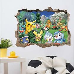 US 3D Wall Stickers Pokemon Pikachu Cartoon Room Decal Wallpaper Removable