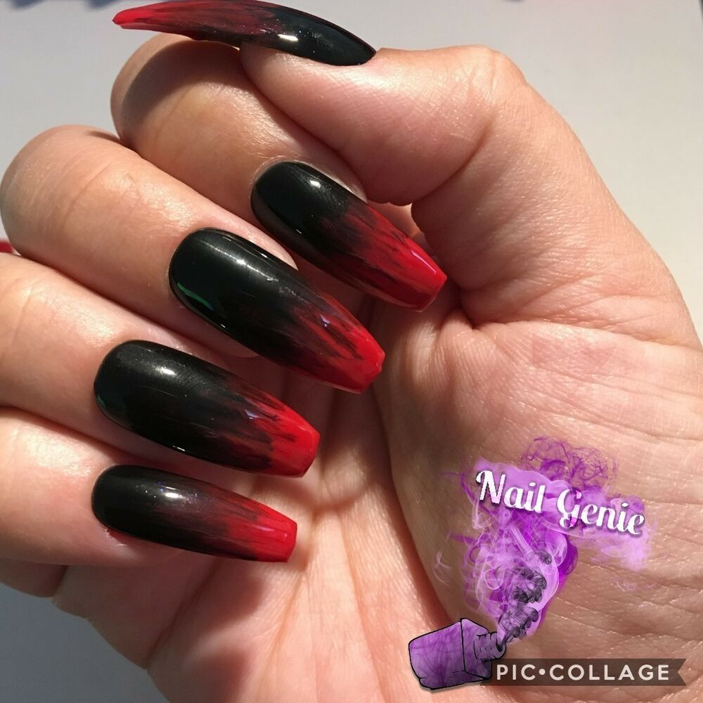 *HALLOWEEN Hand Painted Press On Nails Red and Black Gel ...