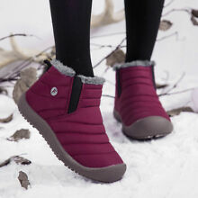 Kids Winter Snow Boots Fur Lined Warm Outdoor Ankle Bootie Shoes Girls Boys