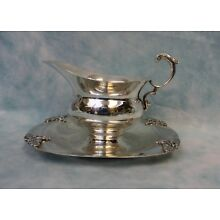 Antique Fisher silver plate gravy boat with attached tray, 8
