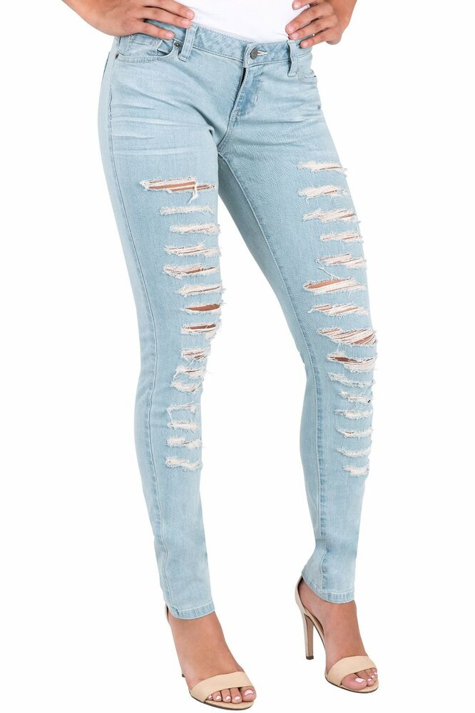 3b36bd13322 Details about Poetic Justice Women Curvy Fit Blue Stretch Denim Extreme  Destroyed Skinny Jeans