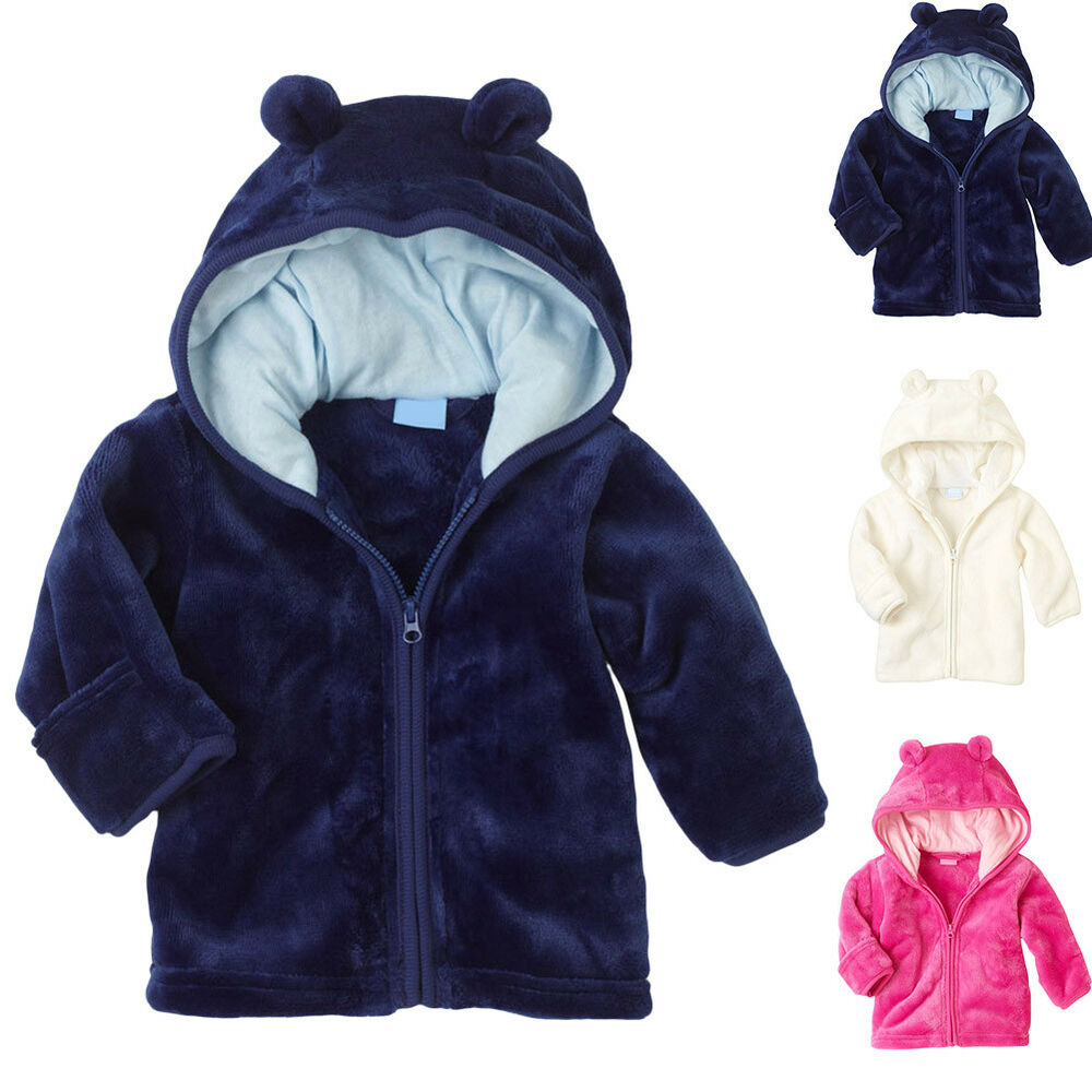 aa9ca47be75a Lively Infant Kid Baby Boy Girl Hooded Coat Coral Fleece Jacket ...