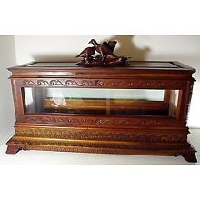 INFANT Child Viewing Casket coffin victorian FIGURAL top cherry wood & glass
