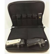 Discreet Padded Two Pistol Gun Handgun Bag & Magazine Storage Range Case Black