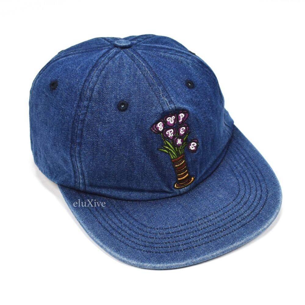 Details about NWT Supreme NY Blue Denim Flowers Logo Embroidered Hat Cap  FW18 AUTHENTIC c09786dd4c9