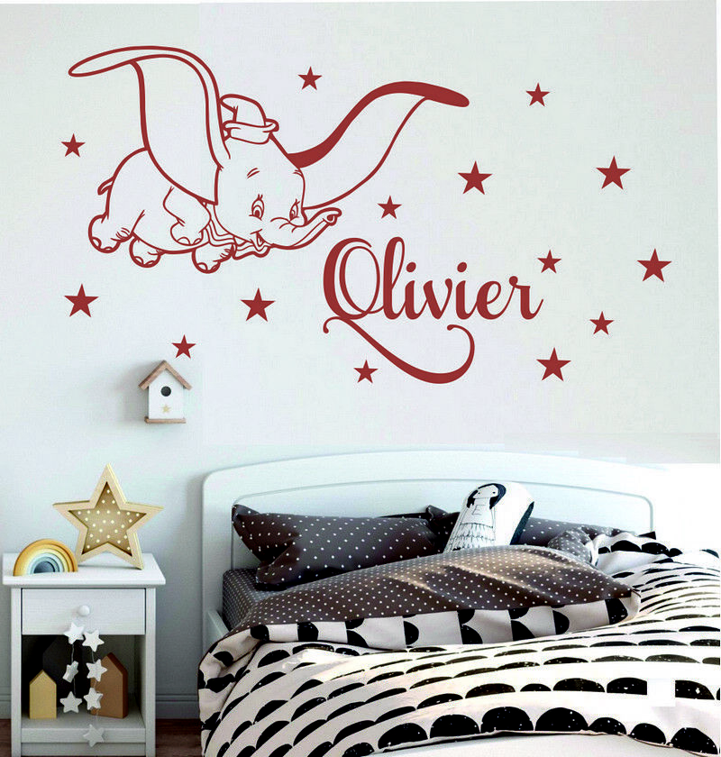 88417170a3 Details about Name Personalised Wall Decor Dumbo Stars Kids Baby Girls  Bedroom Wall Stickers