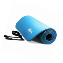 Blue Yoga Mat with Carrying Strap Non Slip Surface Exercise Fitness New