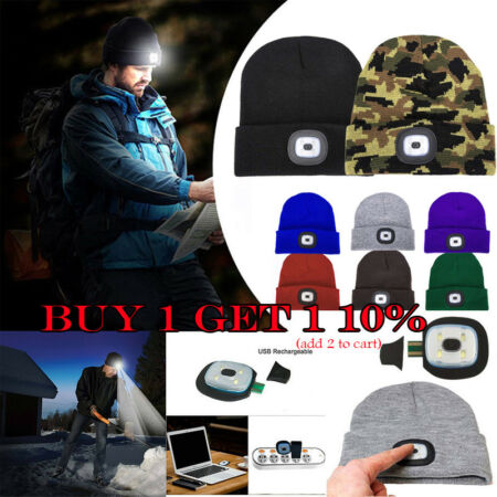 img-Unisex Beanies Hat LED Head Light Torch Rechargeable USB Knitted Hat Xmas Gifts