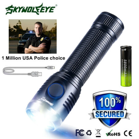 img-Mini USB Rechargeable T6 Outdoor Military LED Flashlight Torch Lamp 18650